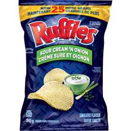 Ruffles Potato Chips - Sour Cream N' Onion - 245g