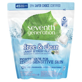Seventh Generation Laundry Detergent Packs - Free & Clear - 45's