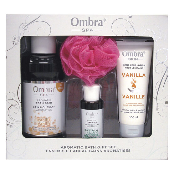 Ombra Spa Aromatic Bath Gift Set - Vanilla & Eucalyptus - 4 piece