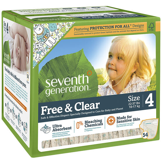 Seventh Generation Baby Free and Clear Diapers - Size 4 - 54's