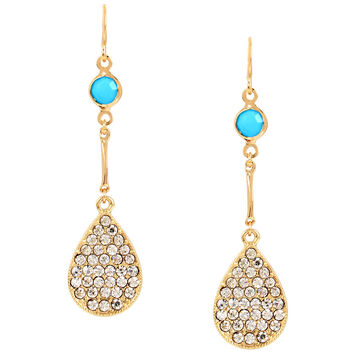 Haskell Pave Drop Earrings - Turquoise/Gold
