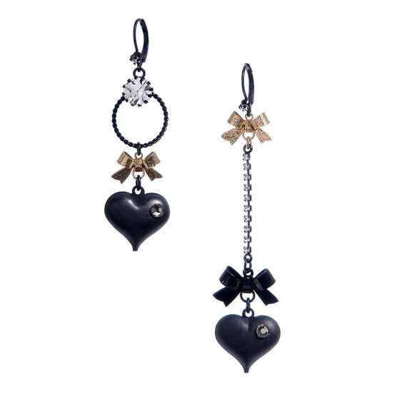 Betsey Johnson Mismatch Bubble Heart Bow Earrings - Black