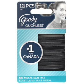 Goody Ouchless Flat Elastics - Black - 12's
