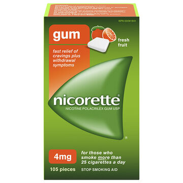 Nicorette Plus Coated Gum with Whitening - Fresh Fruit - 4mg Extra Strength - 105's