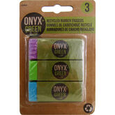 Onyx Green Recycled Rubber Erasers - 3 pack