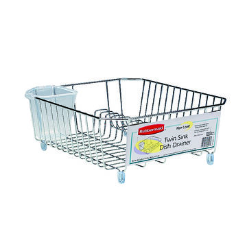 Rubbermaid Twin Sink Basic Wire Dish Drainer - Small - Chrome