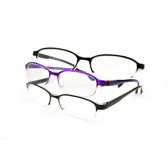 Foster Grant Terri Reading Glasses - Black/Purple - 3 pairs - 1.25
