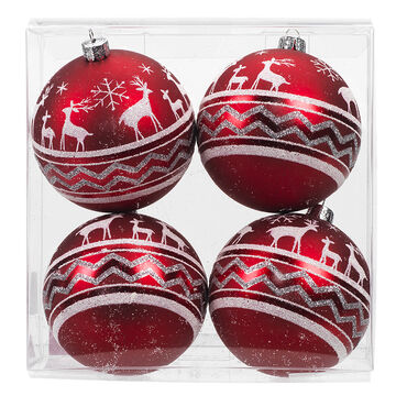 Winter Wishes Candy Cane Lane Ball Ornaments - 4 pack - Reindeer