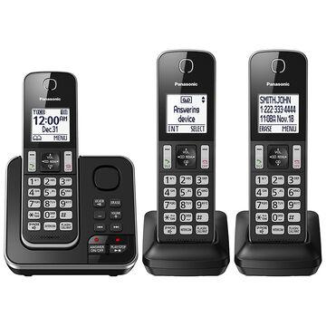 Panasonic 3 Handset Cordless Phone with Answering Machine - Black - KXTGD393B