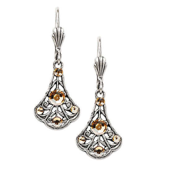 Anne Koplik Crystal Golden Shadow Filigree Bell Earrings