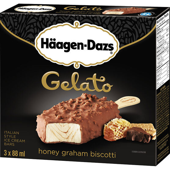 Haagan Dazs Gelato - Honey Graham Biscotti - 3x88ml