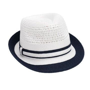 Bellezza Fedora Hat - White and Navy