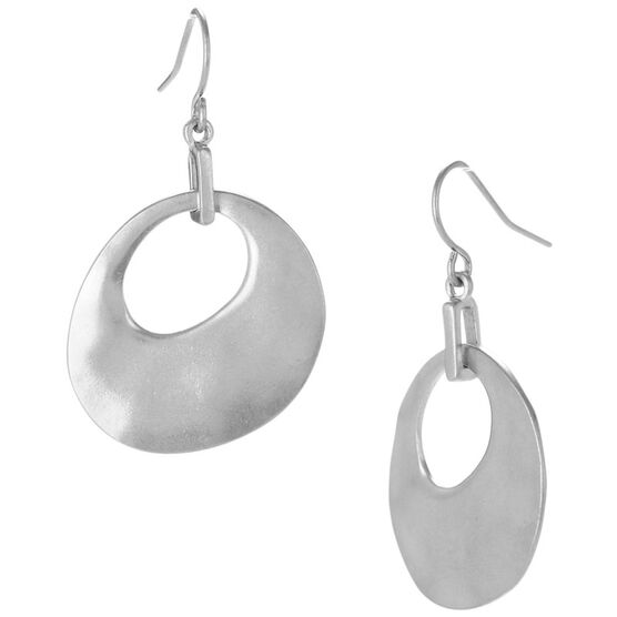 Kenneth Cole Circle Drop Earrings - Silver Tone
