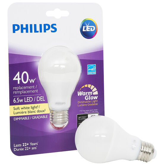 Philips Real LED Bulb A19 - Soft White - 6.5w=40w