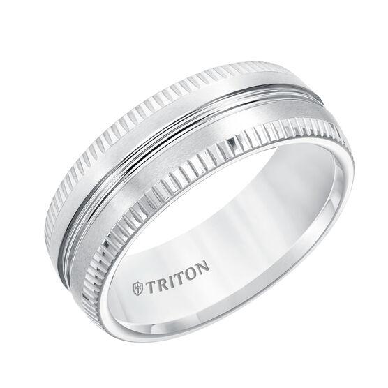 TRITON Coin Edge White Tungsten Band