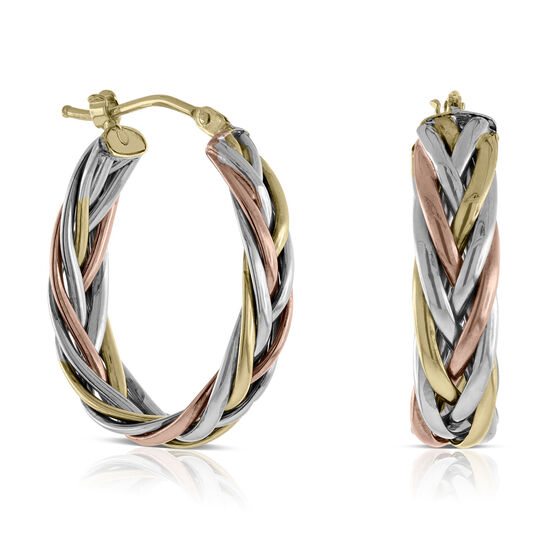 Toscano Braided Tri-Color Hoop Earrings 14K