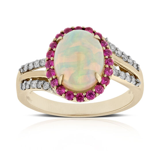 Opal, Ruby & Diamond Ring 14K