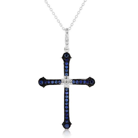 Sapphire & Diamond Cross Pendant 14K
