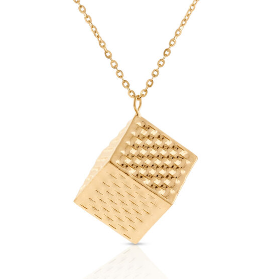 Toscano Collection Cube Pendant 14K