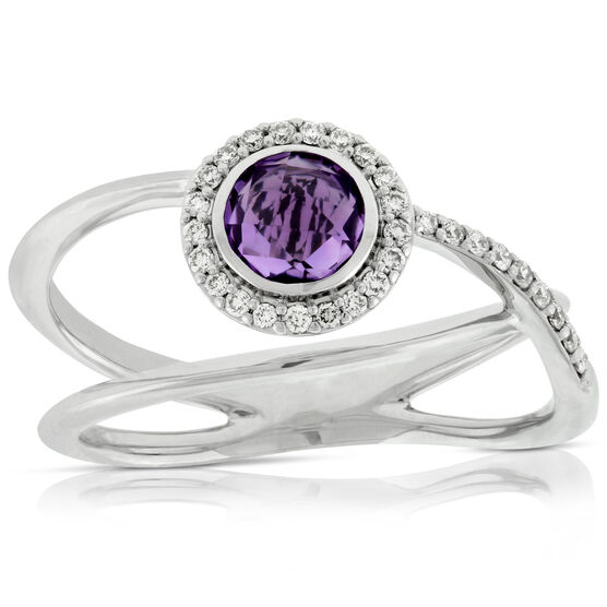 Amethyst & Diamond Bezel Halo Ring 14K