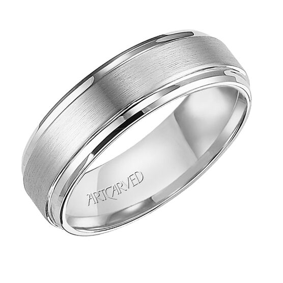 Men's ArtCarved Band in White Tungsten