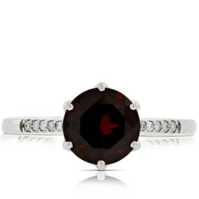 Garnet & Diamond Ring 14K