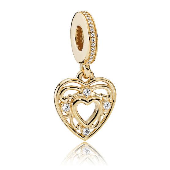 PANDORA Romantic Heart CZ Charm 14K