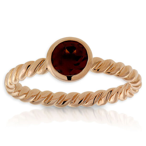Garnet Stackable Ring 14K