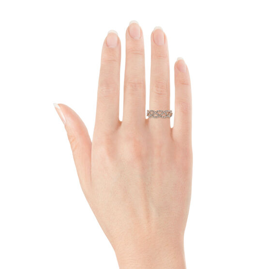 Rose Gold & Diamond Braid Ring 14K