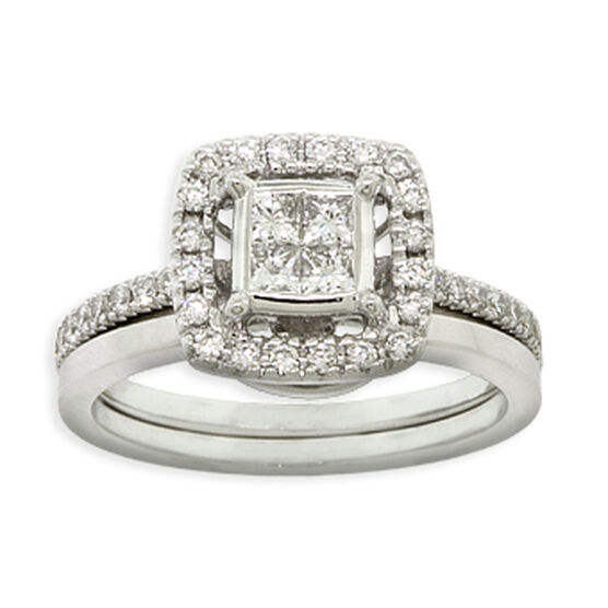 square diamond wedding set 14k - Square Cut Wedding Rings