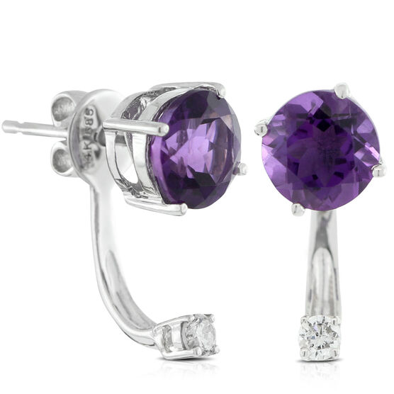 Amethyst & Diamond Earring 14K