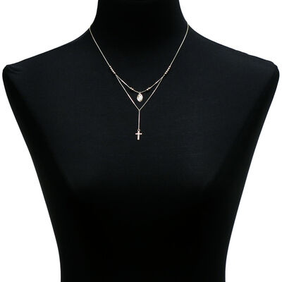 Cross & Virgin Mary Medal Necklace 14K