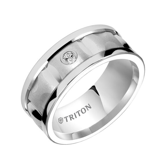 TRITON White Tungsten Carbide Diamond Band
