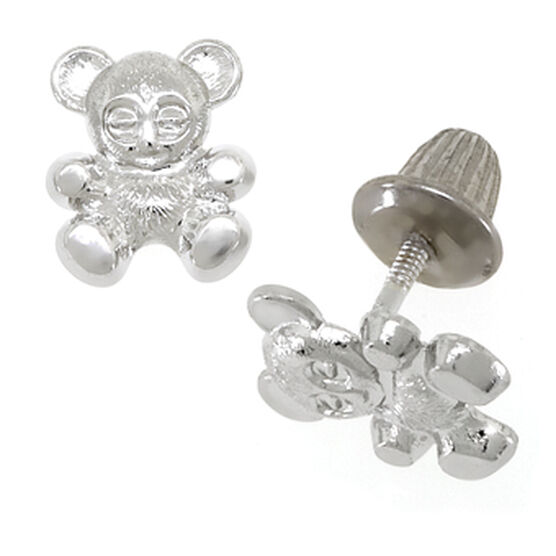 Baby Teddy Bear Earrings 14K