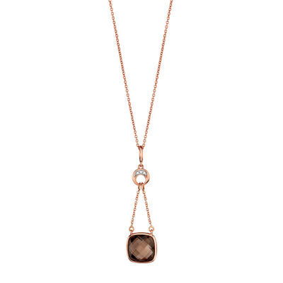 Rose Gold Smoky Quartz & Diamond Pendant 14K