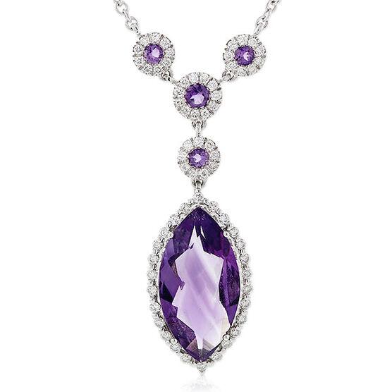 Amethyst & Diamond Necklace 14K