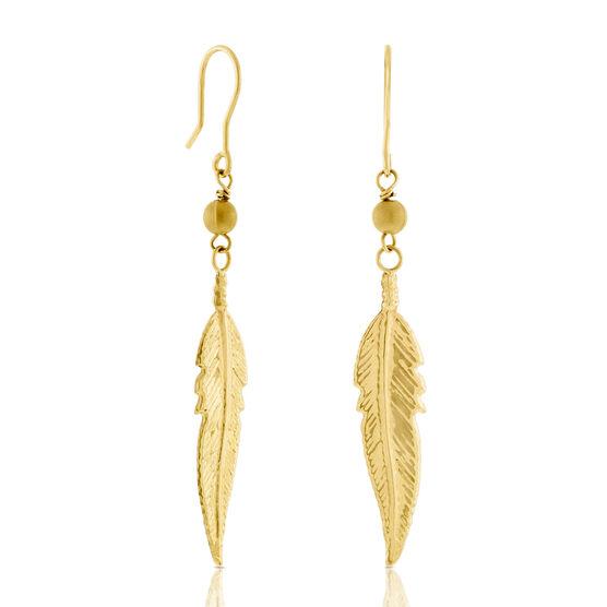 Feather Dangle Earrings 14K