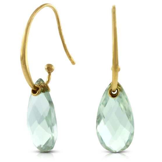Green Quartz Earrings 14K
