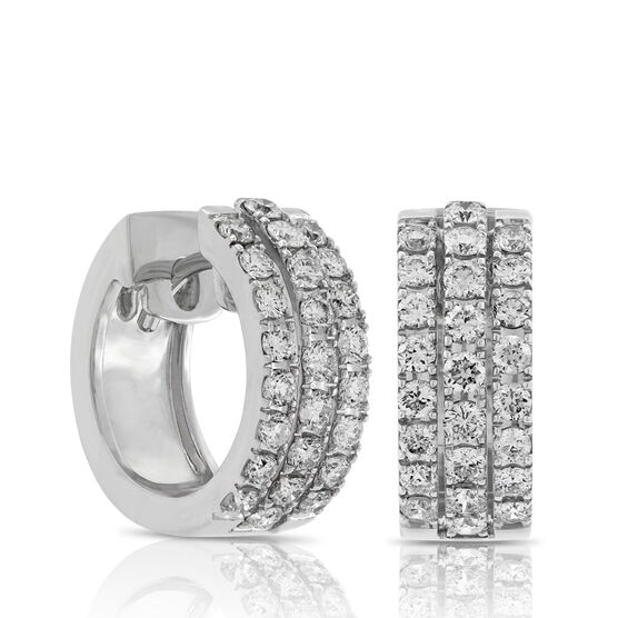 Triple Row Diamond Hoop Earrings 14K