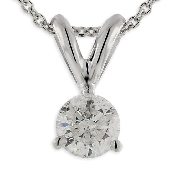 Diamond Solitaire Pendant 14K, 3/4 ct.