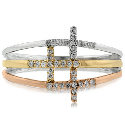 Triple Cross Tri-Tone Diamond Ring 14K