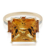 Princess Cut Citrine & Diamond Three-Stone Ring 14K