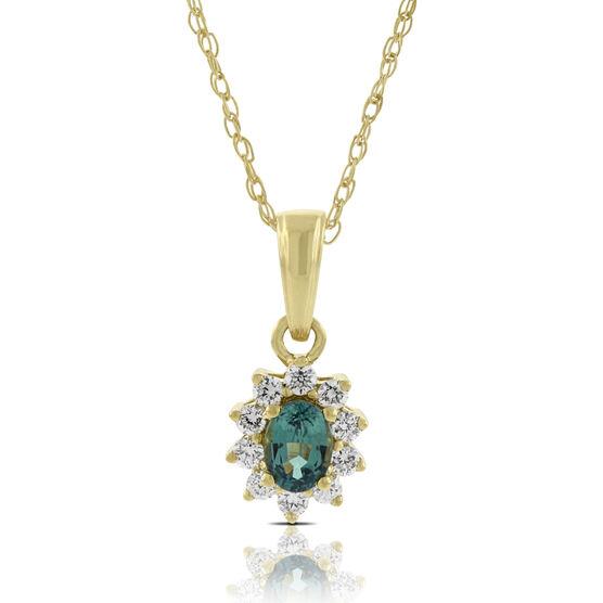 Alexandrite & Diamond Pendant 18K