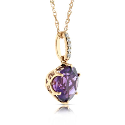 Rose Gold Amethyst & Diamond Pendant 14K