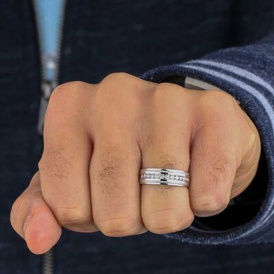 Men's Diamond Band in Platinum