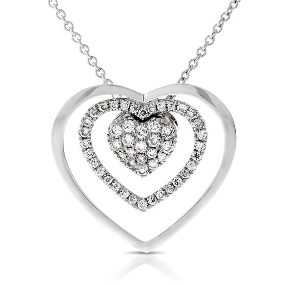 Two Piece Pavé Heart Pendant 14K