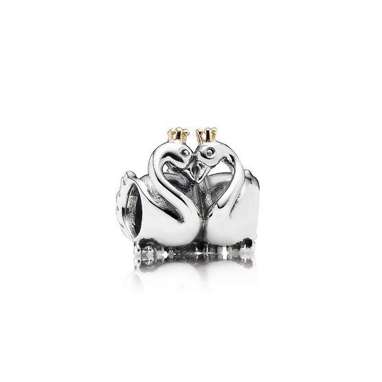 PANDORA Swan Embrace Charm, Silver & 14K