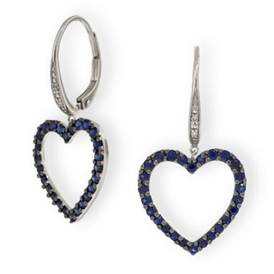 Sapphire Heart & Diamond Earrings 14K
