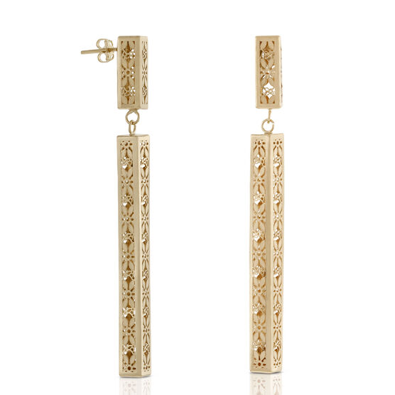 Toscano Collection Floral Rectangular Drop Earrings 18K