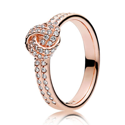sparkling love knot pandora rose cz ring - Pandora Wedding Rings